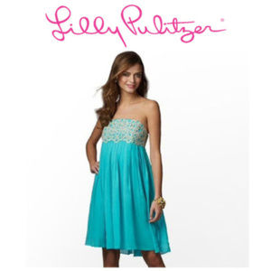 Lilly Pulitzer Teal and Gold Strapless Dres